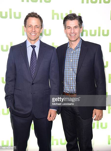 Seth Meyers and Mike Hopkins attend Hulu's Upfront Presentation on April 30 2014 in New York City
