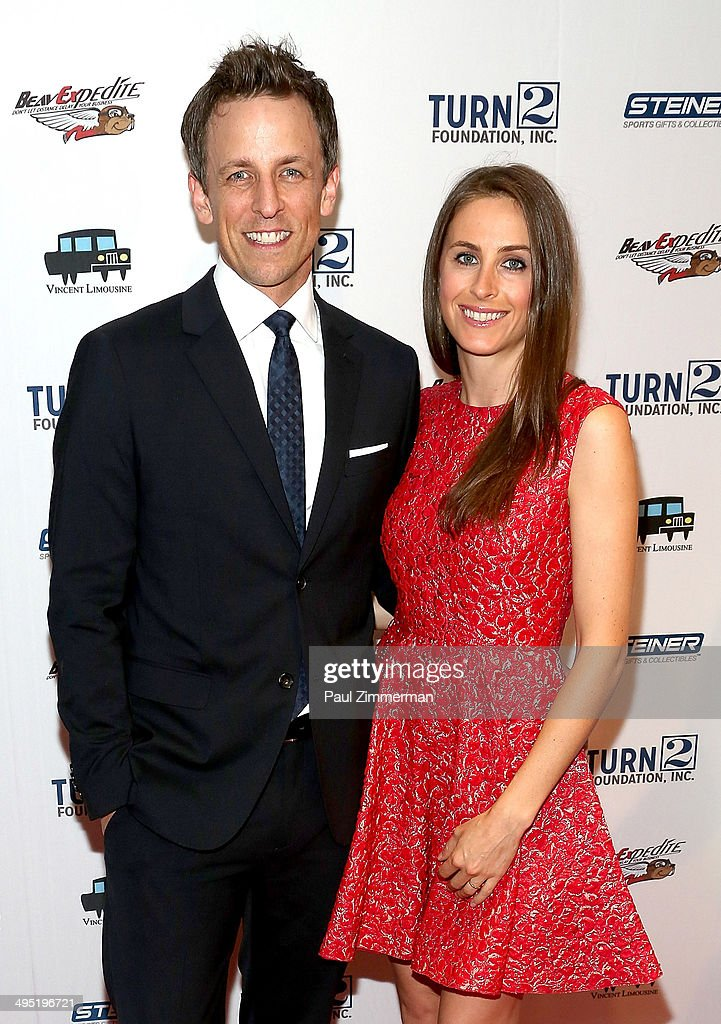 Seth Meyers (L) and wife Alexi Ashe attend the Derek Jeter 18th Annual Turn 2 Foundation dinner at Sheraton New York Times Square on June 1, 2014 in New York City.