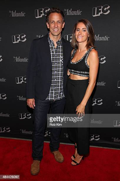 Seth Meyers and wife Alexi Ashe attend the New York screening for 'Documentary Now' at New World Stages on August 18 2015 in New York City