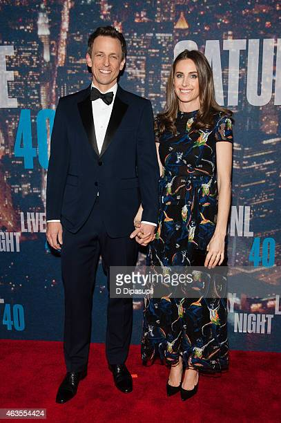 Seth Meyers and wife Alexi Ashe attend the SNL 40th Anniversary Celebration at Rockefeller Plaza on February 15 2015 in New York City