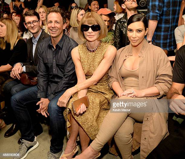 Seth Meyers Anna Wintour Kim Kardashian West and North West attend Kanye West Yeezy Season 2 during New York Fashion Week at Skylight Modern on...