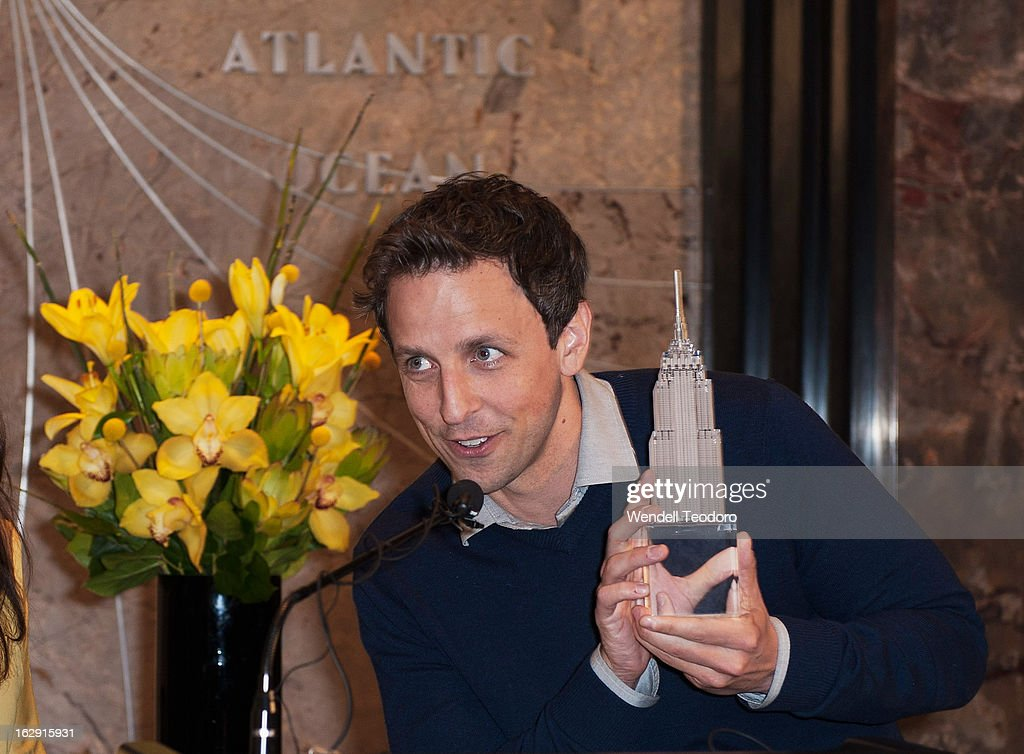 <a gi-track='captionPersonalityLinkClicked' href=/galleries/search?phrase=Seth+Meyers&family=editorial&specificpeople=618859 ng-click='$event.stopPropagation()'>Seth Meyers</a> attends the lights The Empire State Building on March 1, 2013 in New York City.