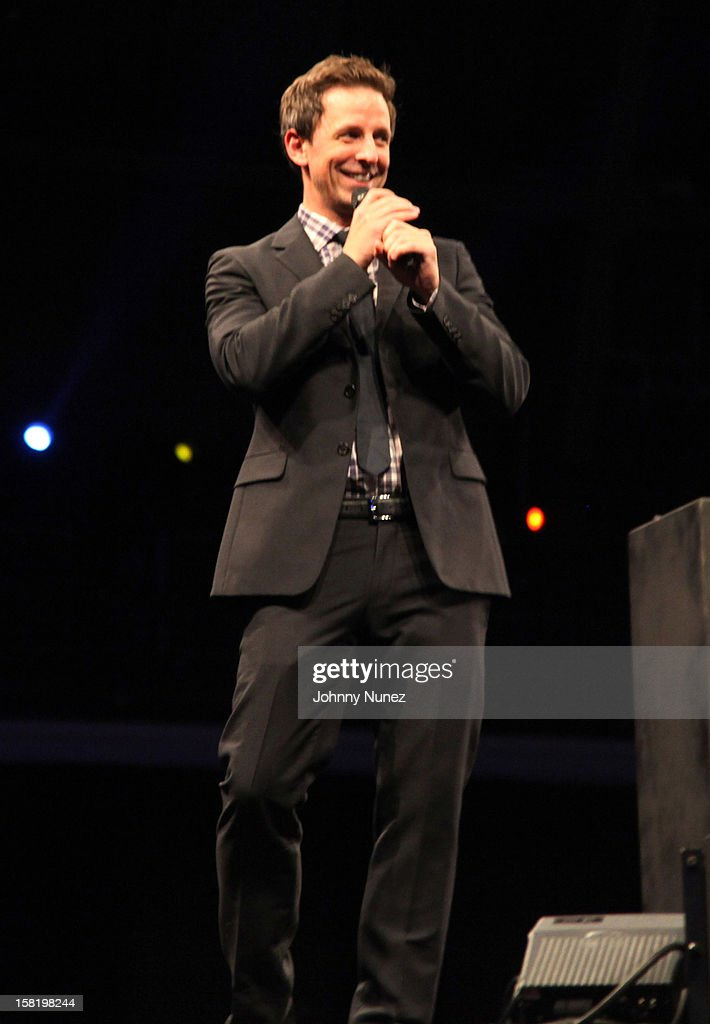 Seth Meyers speaks at the 7th Annual Charity Ball at the 69th Regiment Armory on December 10, 2012 in New York City.