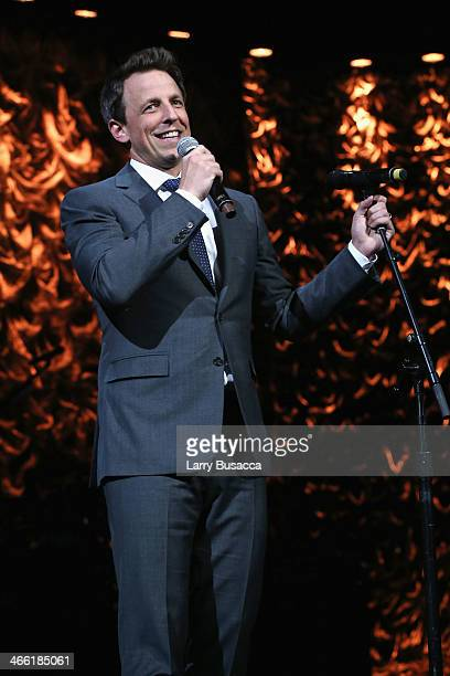 Seth Meyers speaks onstage at 'Howard Stern's Birthday Bash' presented by SiriusXM produced by Howard Stern Productions at Hammerstein Ballroom on...