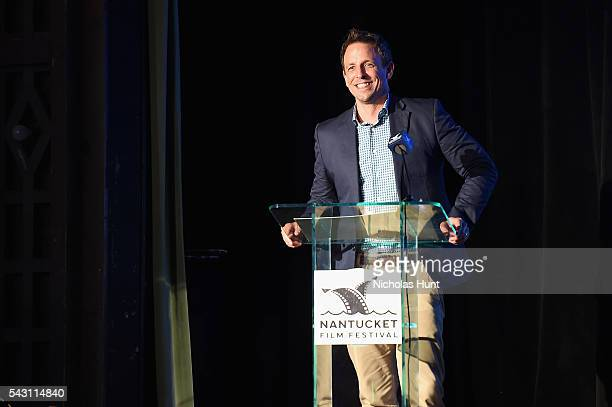 Seth Meyers speaks onstage during the Screenwriters Tribute at the 2016 Nantucket Film Festival Day 4 on June 25 2016 in Nantucket Massachusetts