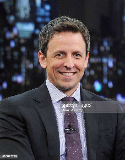 Seth Meyers visits 'Late Night With Jimmy Fallon' at Rockefeller Center on January 28 2014 in New York City