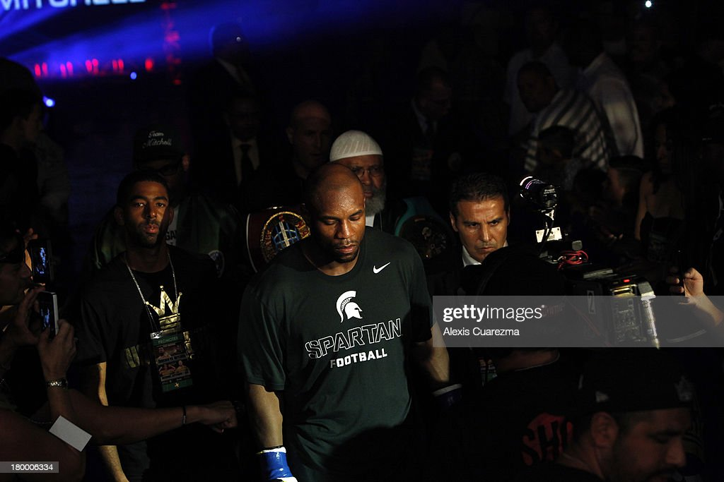 Seth Mitchell enters the ring for his fight against Chris Arreola for the WBC International Heavyweight Title at the Fantasy Springs Resort Casino - Special Events Center on September 7, 2013 in Indio, California.