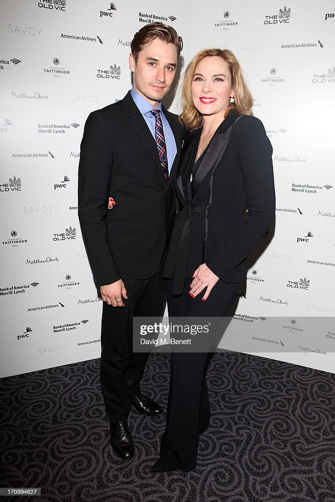 Seth Numrich and <a gi-track='captionPersonalityLinkClicked' href=/galleries/search?phrase=Kim+Cattrall&family=editorial&specificpeople=202214 ng-click='$event.stopPropagation()'>Kim Cattrall</a> attend an after party following the press night performance of The Old Vic's 'Sweet Bird of Youth' at The Savoy Hotel on June 12, 2013 in London, England.