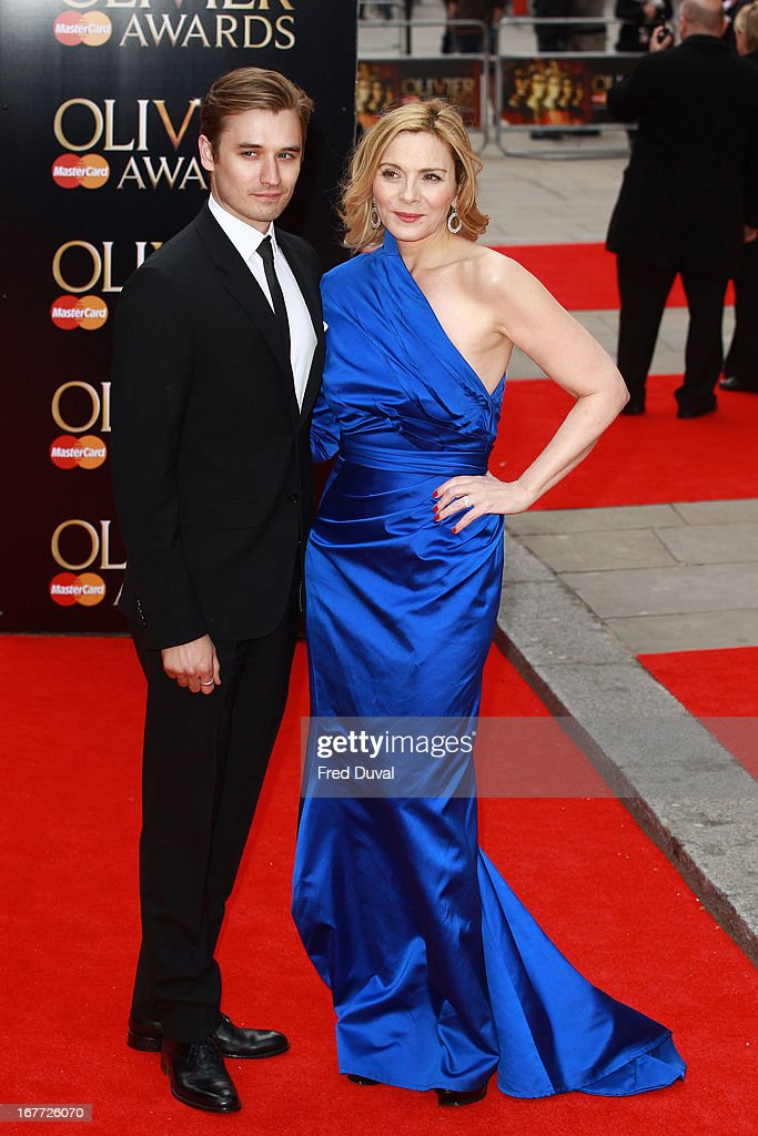 Seth Numrich and <a gi-track='captionPersonalityLinkClicked' href=/galleries/search?phrase=Kim+Cattrall&family=editorial&specificpeople=202214 ng-click='$event.stopPropagation()'>Kim Cattrall</a> attend The Laurence Olivier Awards at The Royal Opera House on April 28, 2013 in London, England.