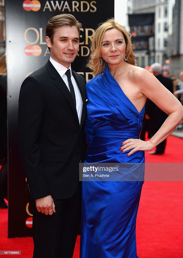 Seth Numrich and Kim Cattrall attend The Laurence Olivier Awards at the Royal Opera House on April 28, 2013 in London, England.
