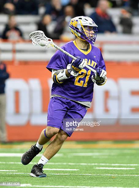 Seth Oakes of the Albany Great Danes controls the ball against the Syracuse Orange during the third quarter at the Carrier Dome on February 21 2016...