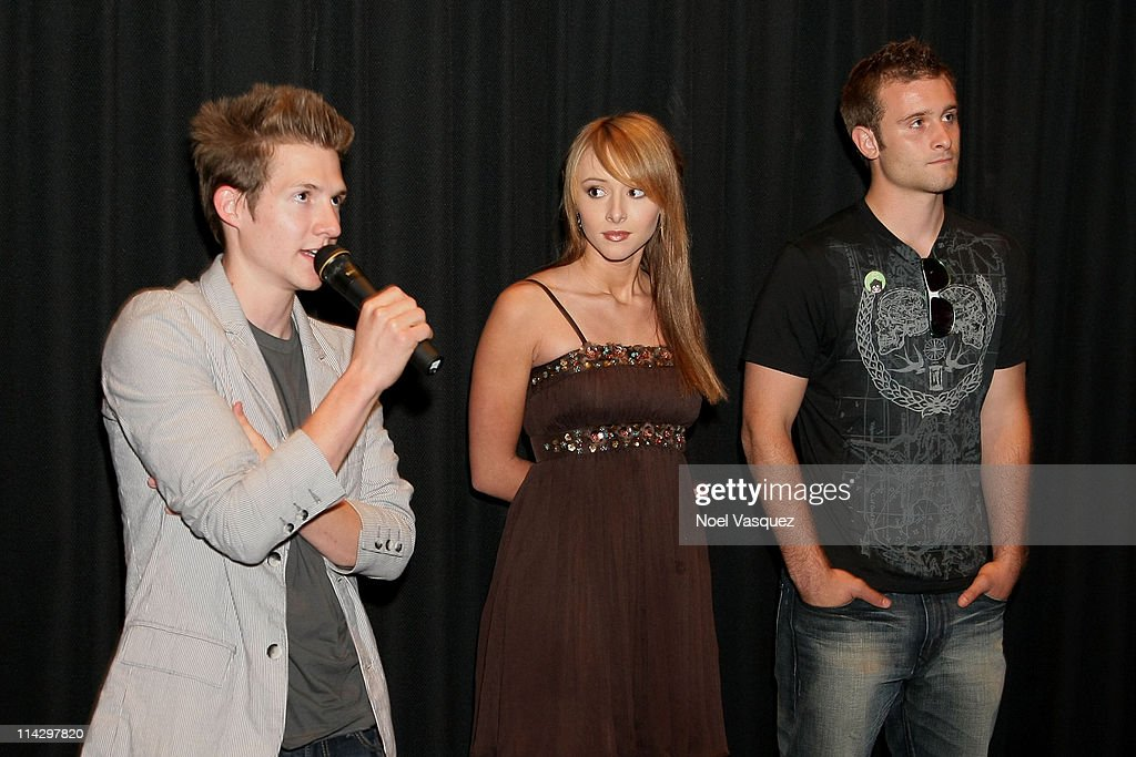 Seth Packard, Lauren McKnight, and Matthew Webb attend the 2008 Los Angeles Film Festival's 'HottieBoombaLottie' screening on June 24, 2008 at The Landmark, Auditorium 4 in Westwood, California.