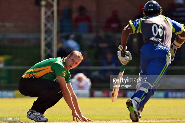Seth Rance and Mahela Udawatte during the Airtel Champions League Twenty20 match between Wayamba Elevens and Central Stags at Axxess DSL St Georges...