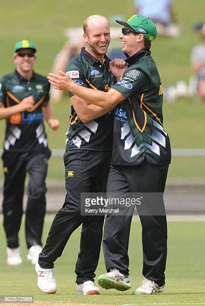 Seth Rance and Will Young celebrate a wicket during the Ford Trophy one day match between Central Stags and Canterbury at McLean Park on December 27...