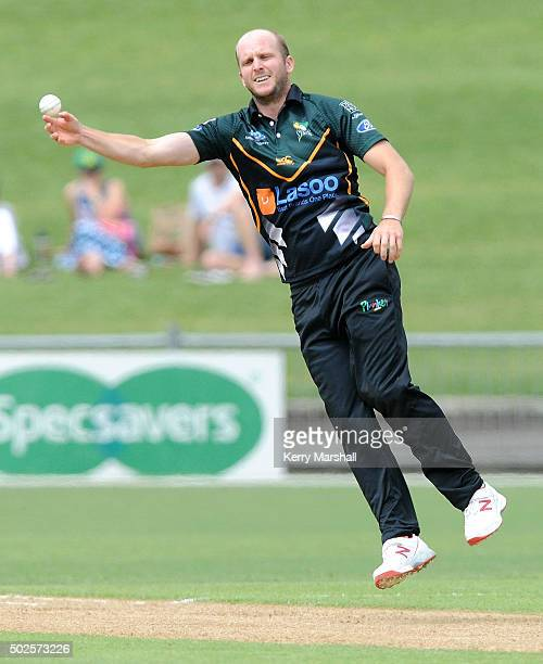 Seth Rance of Central Districts in action during the Ford Trophy one day match between Central Stags and Canterbury at McLean Park on December 27...