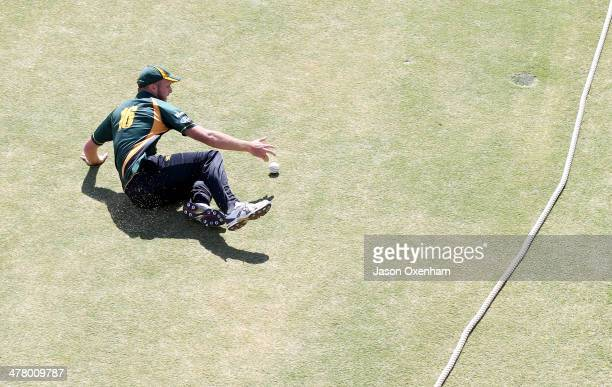 Seth Rance of Central slides in the prevent a boundary during the Ford Trophy Mens OneDay match between the Auckland Aces and Central Stags at Eden...
