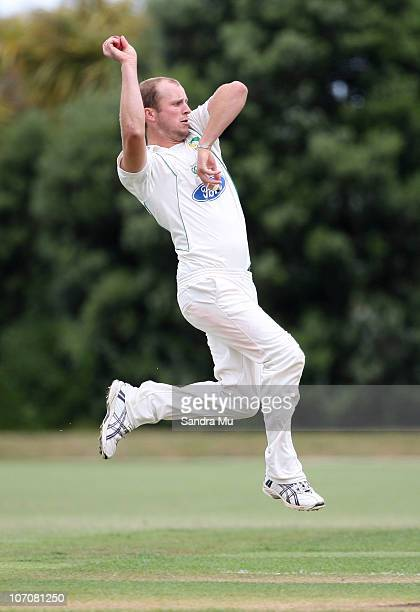 Seth Rance of the Stags bowls during day one of the Plunket Shield match between the Auckland Aces and the Central Stags at Colin Maiden Park on...