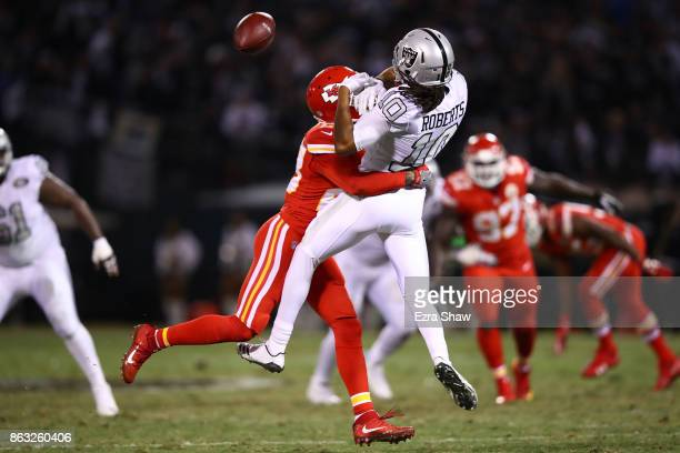 Seth Roberts of the Oakland Raiders is unable to make a catch against the Kansas City Chiefs during their NFL game at OaklandAlameda County Coliseum...
