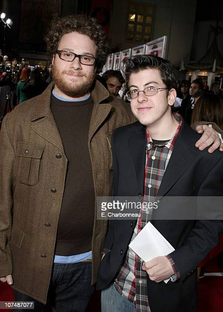 Seth Rogen and Christopher MintzPlasse at the Los Angeles premiere of 'Walk Hard' at Grauman's Chinese Theatre on December 12 2007 in Hollywood...