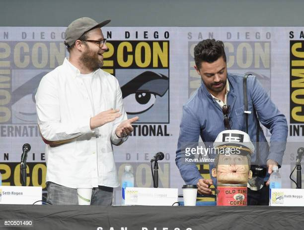 Seth Rogen and Dominic Cooper onstage at ComicCon International 2017 AMC's 'Preacher' panel at San Diego Convention Center on July 21 2017 in San...