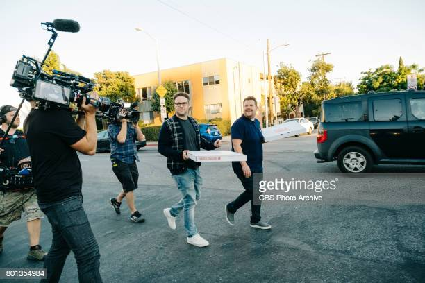Seth Rogen and Dominic Cooper perform in the sketch Mystery Pizza with James Corden during 'The Late Late Show with James Corden' Thursday June 22...