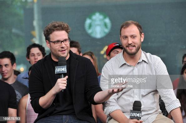 Seth Rogen and Evan Goldberg appear on NEWMUSICLIVE To Promote 'This Is The End' at MuchMusic Headquarters on May 27 2013 in Toronto Canada