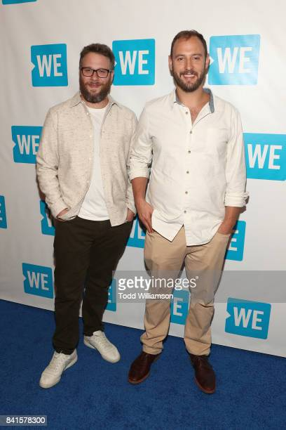 Seth Rogen and Evan Goldberg attend the premiere of And Action's 'Dumpster Diving' at Cinemark Playa Vista on August 31 2017 in Los Angeles California