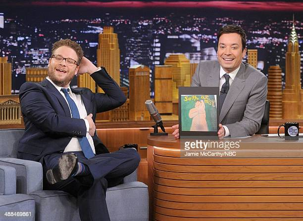 Seth Rogen and host Jimmy Fallon during a segement on 'The Tonight Show Starring Jimmy Fallon' at Rockefeller Center on May 6 2014 in New York City