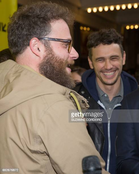 Seth Rogen and James Franco arrive for the premiere of the film The Disaster Artist during The South by Southwest Film Conference held at the...