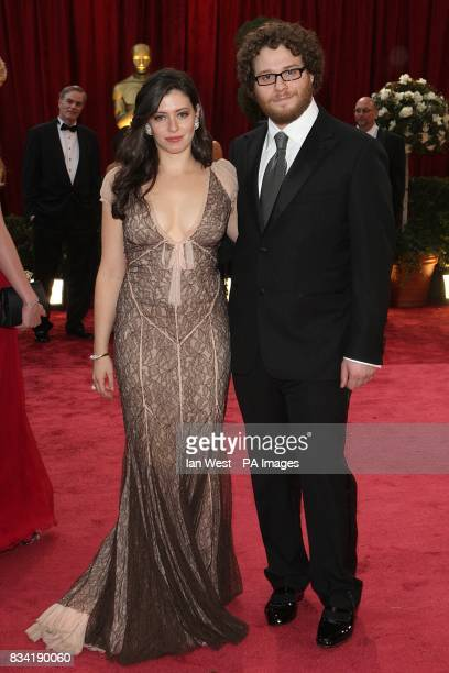 Seth Rogen and Lauren Miller arrive for the 80th Academy Awards at the Kodak Theatre Los Angeles