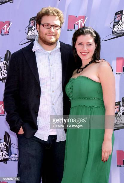 Seth Rogen and Lauren Miller arrives for the 2007 MTV Movie awards at the Gibson Amphitheatre Universal City Los Angeles