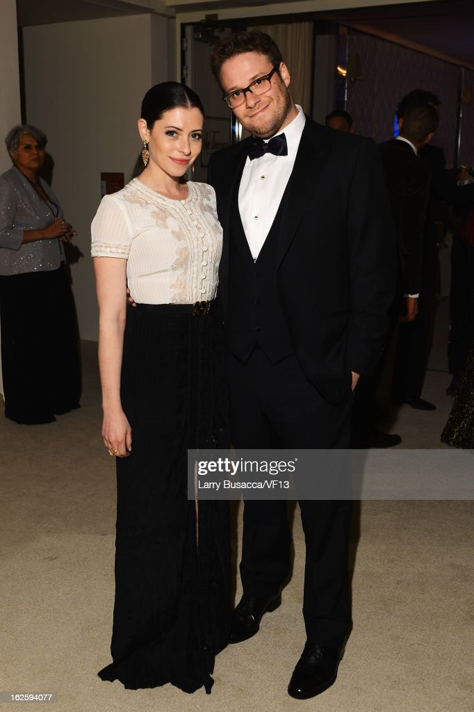 Seth Rogen and Lauren Miller attend the 2013 Vanity Fair Oscar Party hosted by Graydon Carter at Sunset Tower on February 24, 2013 in West Hollywood, California.