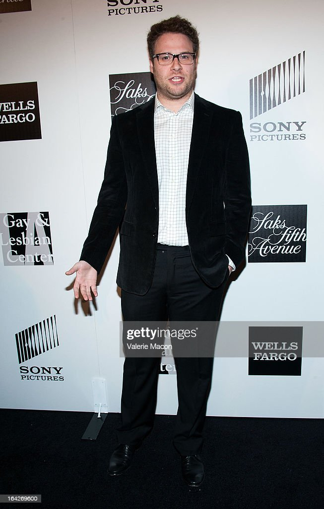 <a gi-track='captionPersonalityLinkClicked' href=/galleries/search?phrase=Seth+Rogen&family=editorial&specificpeople=3733304 ng-click='$event.stopPropagation()'>Seth Rogen</a> arrives at 'An Evening' Benefiting The L.A. Gay & Lesbian Center at the Beverly Wilshire Four Seasons Hotel on March 21, 2013 in Beverly Hills, California.