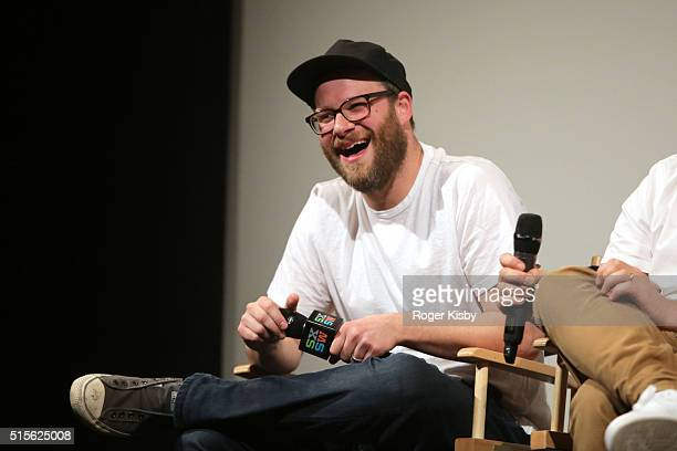 Seth Rogen attends an autograph signing panel and screening of AMC's new series 'Preacher' at SXSW on March 14 2016 in Austin Texas