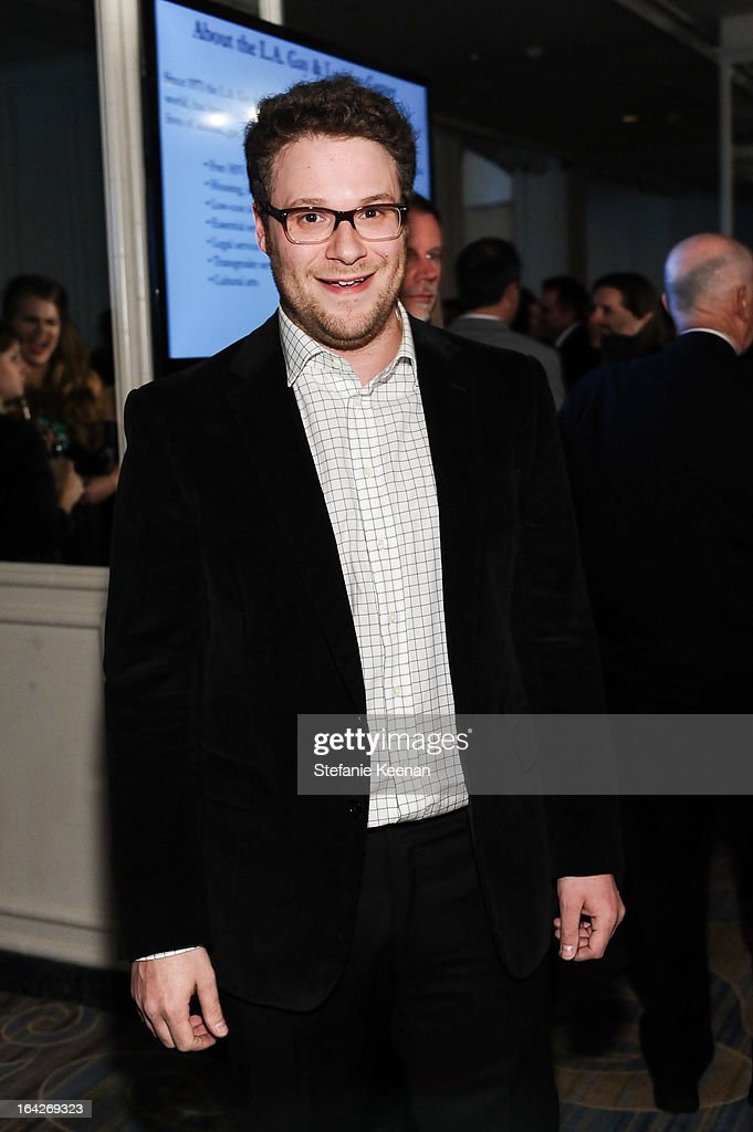 <a gi-track='captionPersonalityLinkClicked' href=/galleries/search?phrase=Seth+Rogen&family=editorial&specificpeople=3733304 ng-click='$event.stopPropagation()'>Seth Rogen</a> attends An Evening Benefiting The L.A. Gay & Lesbian Center Honoring Amy Pascal and Ralph Rucci on March 21, 2013 in Beverly Hills, California.