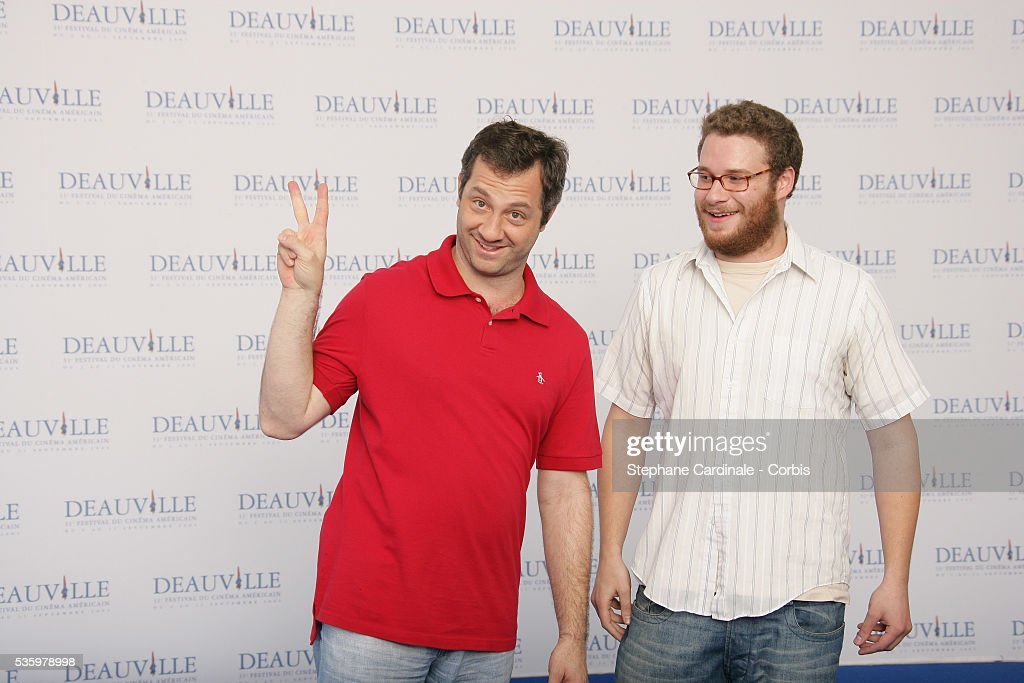 Seth Rogen, Director Judd Apatow pose at 'The 40 Year-Old Virgin' photocall during the 31st American Deauville Film Festival.