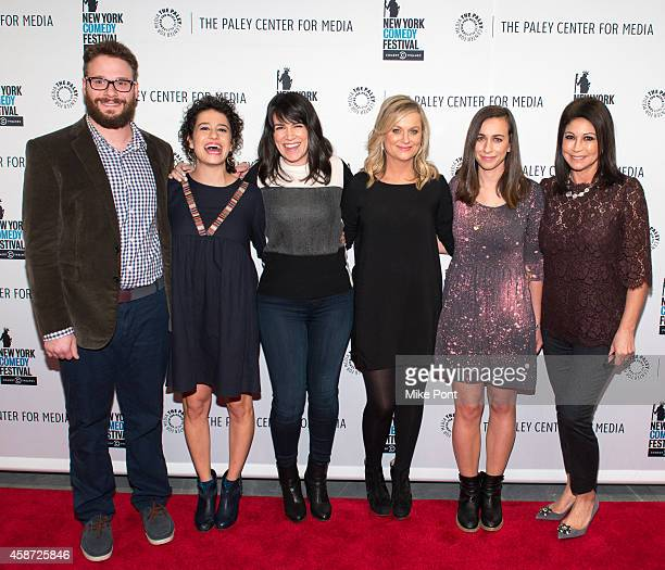 Seth Rogen Ilana Glazer Abbi Jacobson Amy Poehler Lucia Aniello and Caroline Hirsch attend the 'Id Isn't Always Pretty An Evening With Broad City'...