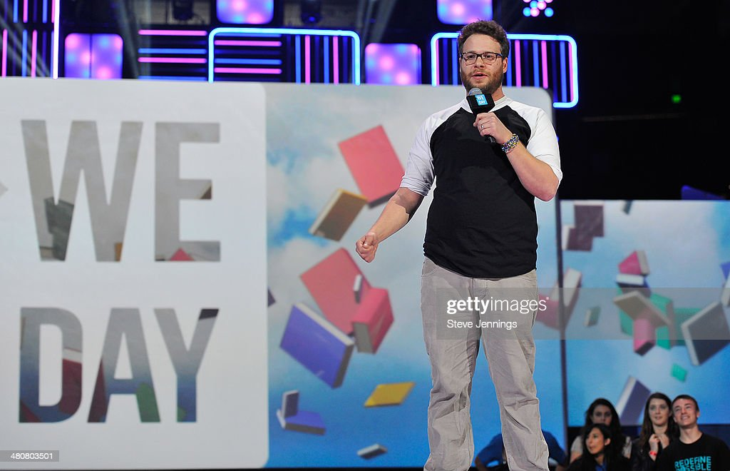 <a gi-track='captionPersonalityLinkClicked' href=/galleries/search?phrase=Seth+Rogen&family=editorial&specificpeople=3733304 ng-click='$event.stopPropagation()'>Seth Rogen</a> in Oakland, CA speaks about youth empowerment to 16,000 students and educators at the first We Day California at ORACLE Arena on March 26, 2014 in Oakland, California.