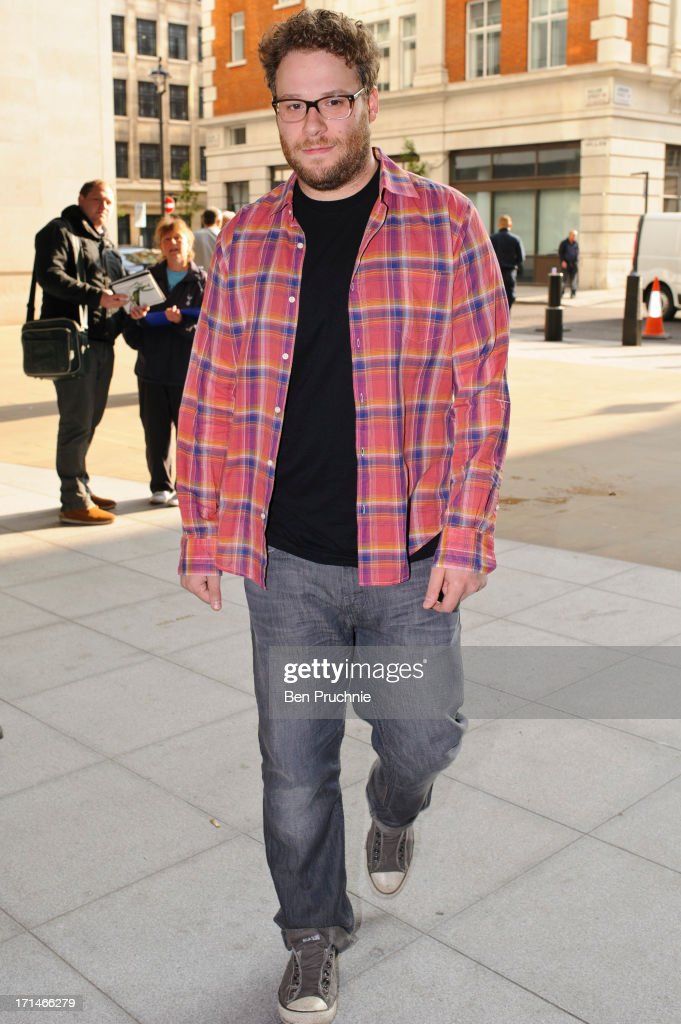 <a gi-track='captionPersonalityLinkClicked' href=/galleries/search?phrase=Seth+Rogen&family=editorial&specificpeople=3733304 ng-click='$event.stopPropagation()'>Seth Rogen</a> sighted arriving at BBC Radio Studios on June 25, 2013 in London, England.