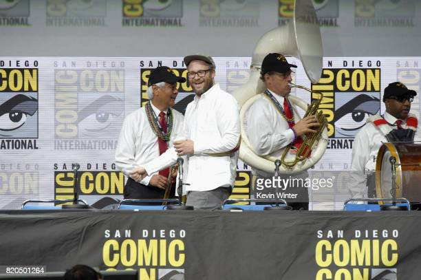 Seth Rogen walks onstage at ComicCon International 2017 AMC's 'Preacher' panel at San Diego Convention Center on July 21 2017 in San Diego California