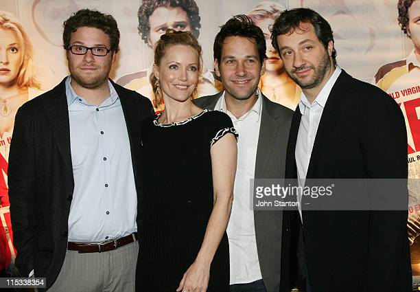 Seth RogenLeslie MannPaul Rudd and Judd Apatow during 'Knocked Up' Sydney Premiere Arrivals at Hoyts Entertainment Quarter in Sydney NSW Australia