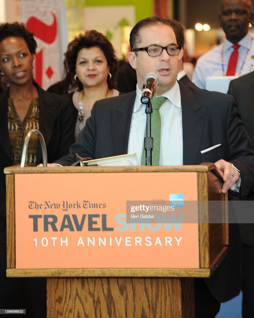 Seth Rogin attends The 10th Annual New York Times Travel Show Ribbon Cutting And Preview at Javits Center on January 18, 2013 in New York City.