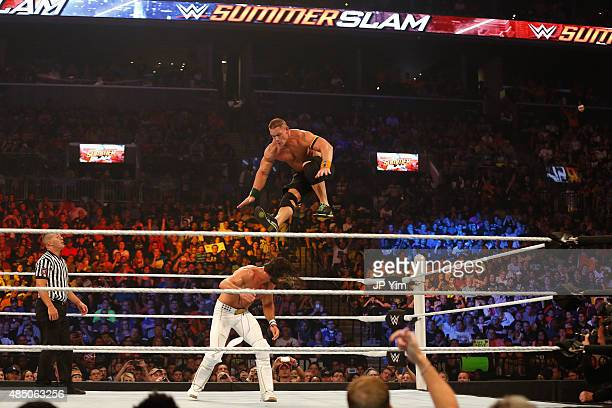 Seth Rollins and John Cena battle it out at the WWE SummerSlam 2015 at Barclays Center of Brooklyn on August 23 2015 in New York City