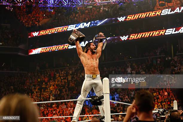 Seth Rollins celebrates his victory over John Cena at the WWE SummerSlam 2015 at Barclays Center of Brooklyn on August 23 2015 in New York City