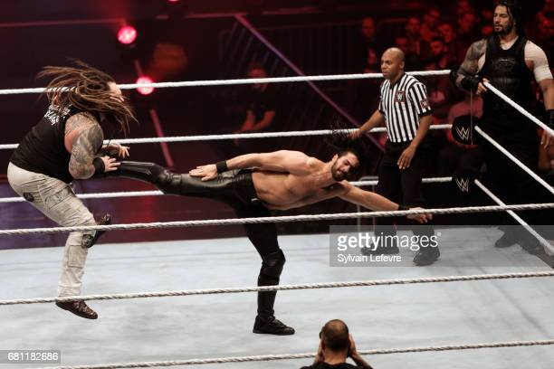 Seth Rollins fights against Bray and Samoa Joe during WWE Live 2017 at Zenith Arena on May 9 2017 in Lille France