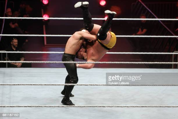 Seth Rollins fights against Samoa Joe during WWE Live 2017 at Zenith Arena on May 9 2017 in Lille France