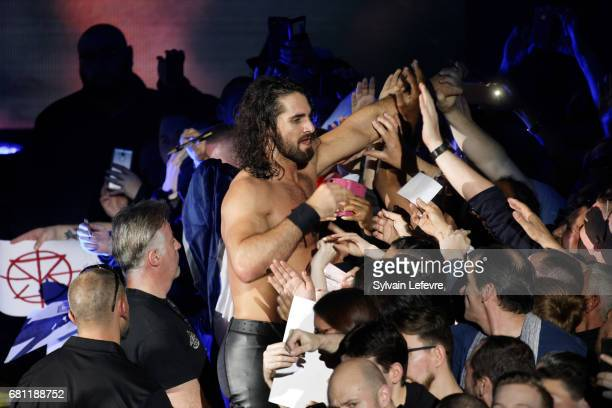 Seth Rollins greets supporters after fighting during WWE Live 2017 at Zenith Arena on May 9 2017 in Lille France