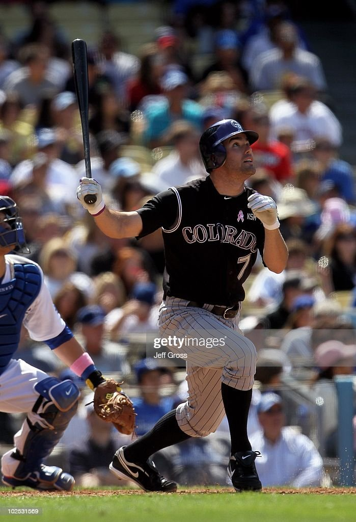 <a gi-track='captionPersonalityLinkClicked' href=/galleries/search?phrase=Seth+Smith&family=editorial&specificpeople=3190174 ng-click='$event.stopPropagation()'>Seth Smith</a> #7 of the Colorado Rockies bats against the Los Angeles Dodgers at Dodger Stadium on May 9, 2010 in Los Angeles, California.