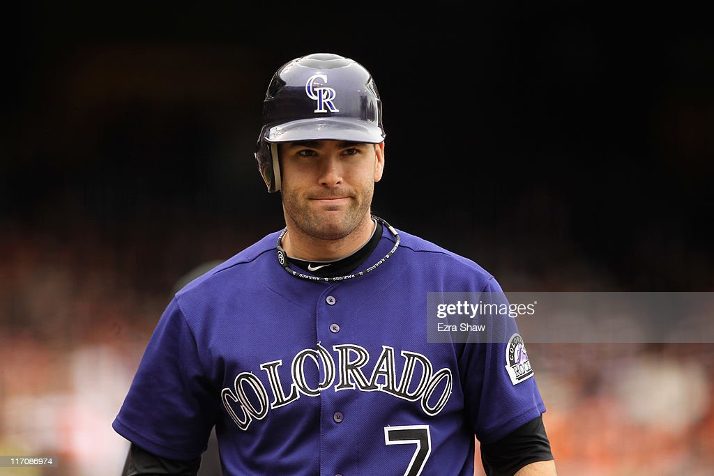 <a gi-track='captionPersonalityLinkClicked' href=/galleries/search?phrase=Seth+Smith&family=editorial&specificpeople=3190174 ng-click='$event.stopPropagation()'>Seth Smith</a> #7 of the Colorado Rockies in action against the San Francisco Giants at AT&T Park on June 5, 2011 in San Francisco, California.