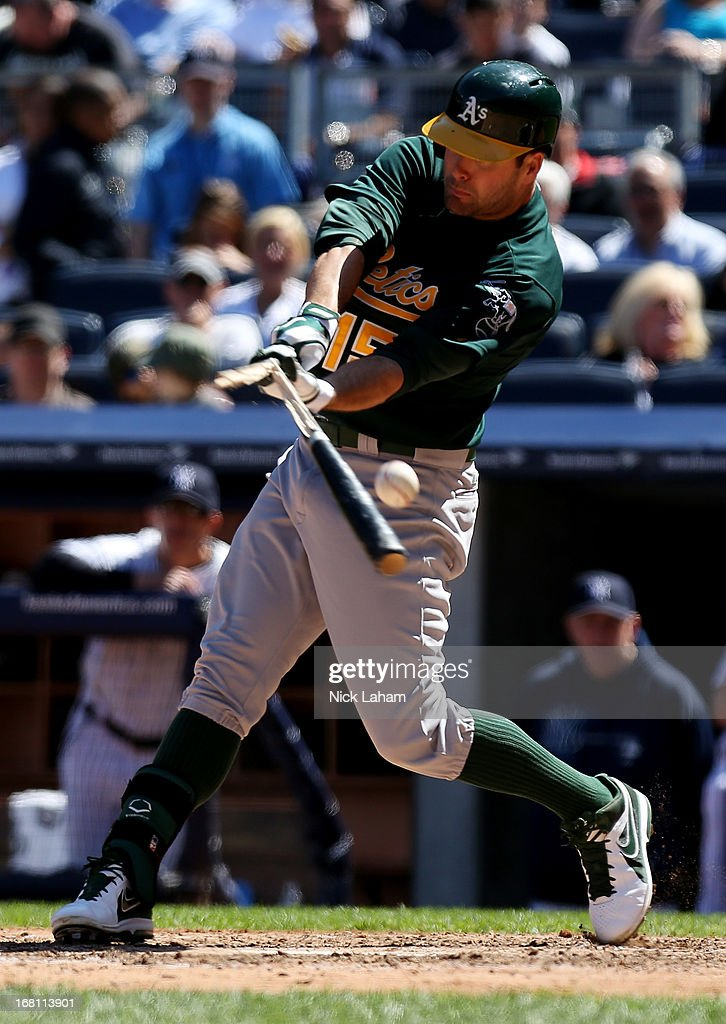 <a gi-track='captionPersonalityLinkClicked' href=/galleries/search?phrase=Seth+Smith&family=editorial&specificpeople=3190174 ng-click='$event.stopPropagation()'>Seth Smith</a> #15 of the Oakland Athletics breaks his bat gainst the New York Yankees at Yankee Stadium on May 5, 2013 in the Bronx borough of New York City.